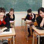 sexy Japanese schoolgirls in class wearing Sailor Moon uniforms